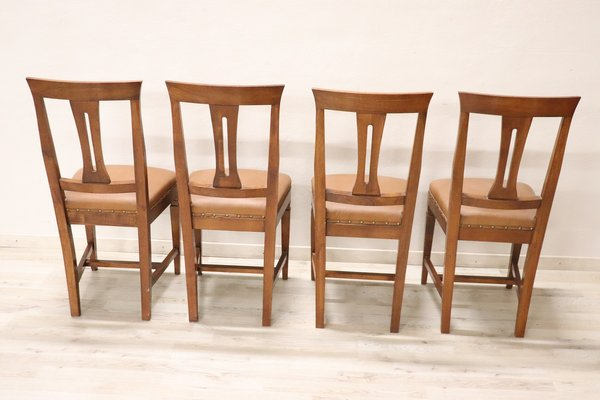 Vintage Walnut Dining Chairs 1950s Set Of 4 For Sale At Pamono