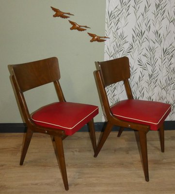 Mid Century Red Dining Chairs Set Of 2 For Sale At Pamono