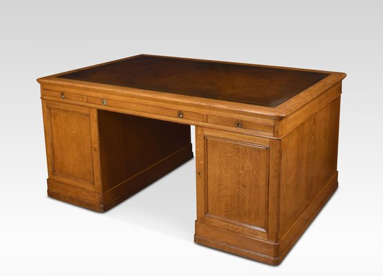 Large Antique Oak Library Desk For