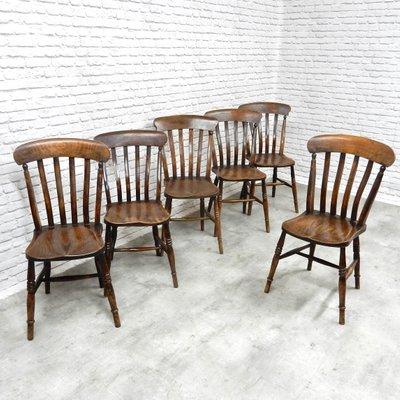 Antique Farmhouse Kitchen Chairs, Set of 6