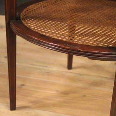 English Round Walnut Mahogany Beech And Maple Side Table 1950s