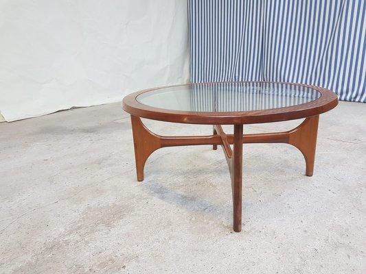 Mid Century Danish Glass And Teak Round Coffee Table From