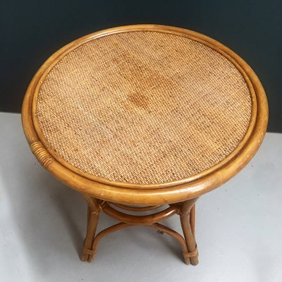 Italian Rattan Round Coffee Table From