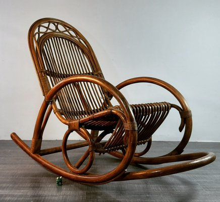 German Bamboo And Wood Rocking Chair