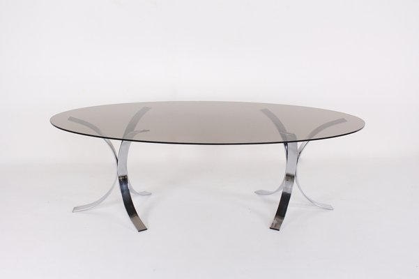 Chromium And Smoked Glass Dining Table 1970s For Sale At Pamono