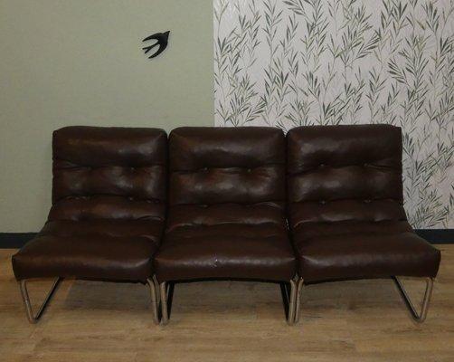 Vintage Skai Leather Sofa Chairs, Set of 3