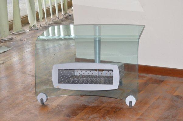 Porta Tv Cristallo Design.Porta Tv Lemm In Cristallo Curvato Di Catellan Anni 80 In
