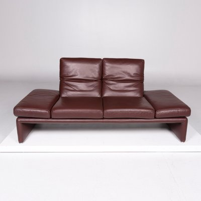 Vintage Red Brown Leather 2 Seater Sofa