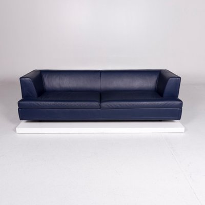 Vintage Blue Leather Sofa And Stool Set By Paolo Piva For Wittmann