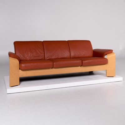 Terracotta Brown Leather 3 Seater Sofa