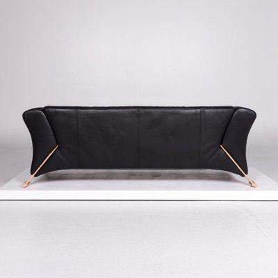 Rolf Benz 322 Design Bank.Vintage Black Leather Model 322 2 Seater Sofa From Rolf Benz For