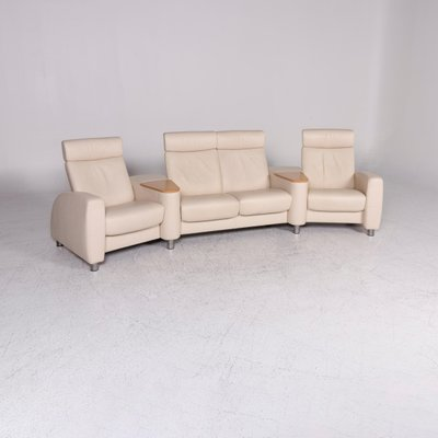 Vintage Beige Leather 4-Seater Sofa from Stressless