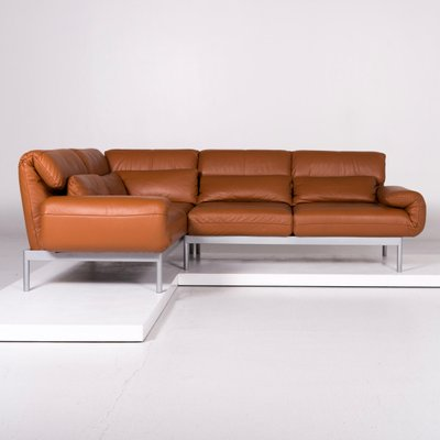 Vintage Brown Leather Corner Sofa From