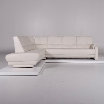 Vintage White Leather Corner Sofa From