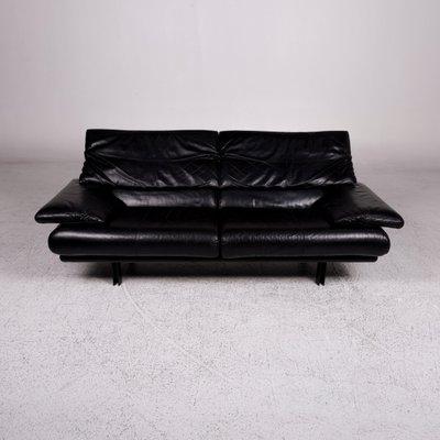 Vintage Black Alanda Leather Sofas By