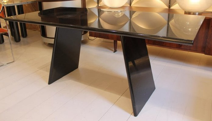 Italian Black Granite Dining Table By Angelo Mangiarotti For Asolo 1980s For Sale At Pamono