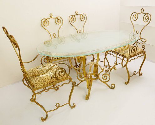 Gilded Wrought Iron Dining Table, Wrought Iron Dining Table And Chair Set