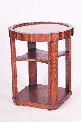 Petite Table Basse Ronde Art Deco En Chene Et En Cuivre