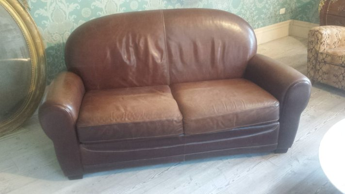 French Leather Sofa 1970s For At