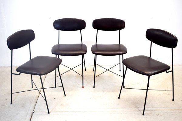 Italian Faux Leather And Iron Dining Chairs 1950s Set Of 4 For Sale At Pamono
