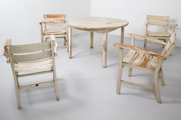 Sedie In Legno Da Giardino.Tavolo Da Giardino Vintage In Legno Con Sedie Di Heinrich Hammer