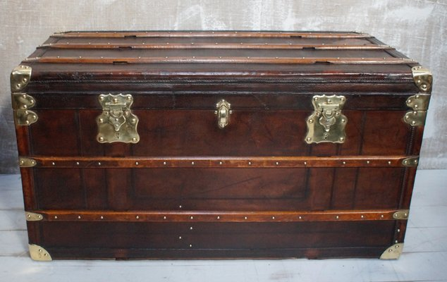 Large Antique French Steamer Trunk From