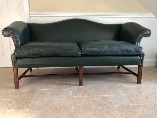 Leather Camelback Sofa 1970s For