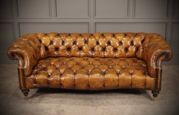 Tan Leather Chesterfield Sofa 1920s