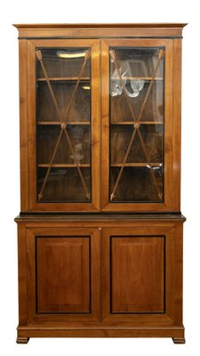 Antique Cherry Wood Display Cabinet For