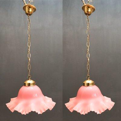 Lámparas colgantes flor de cristal de Murano rosa, años 60. Juego de 2