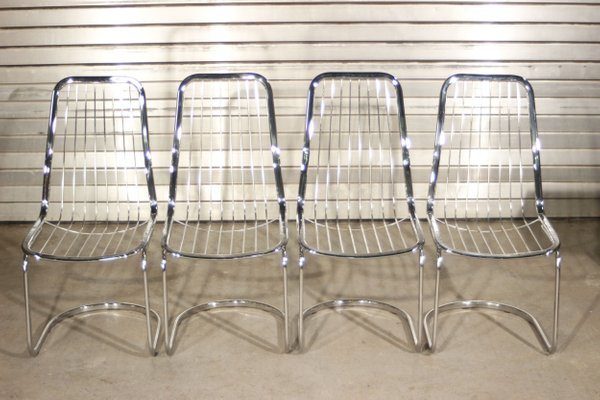 Chrome Steel Dining Chairs By Gastone Rinaldi 1970s Set Of 4 For Sale At Pamono