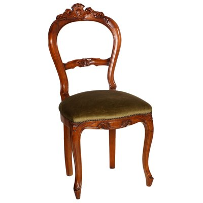 Style Carved Blond Walnut Dining Chairs