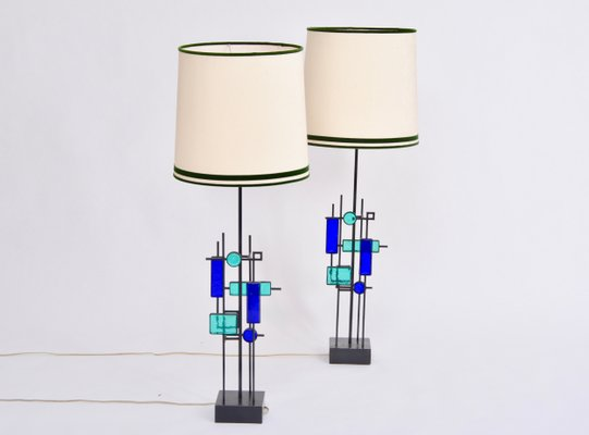 Iron And Glass Table Lamps By Svend Aage Holm Sørensen For Holm Sørensen Co 1960s Set Of 2 For Sale At Pamono