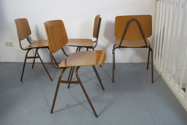 Vintage Industrial Chairs By Kho Liang Ie For Car Set Of 4 For Sale