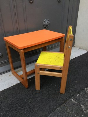 Childrens Desk And Chair Set 1960s For