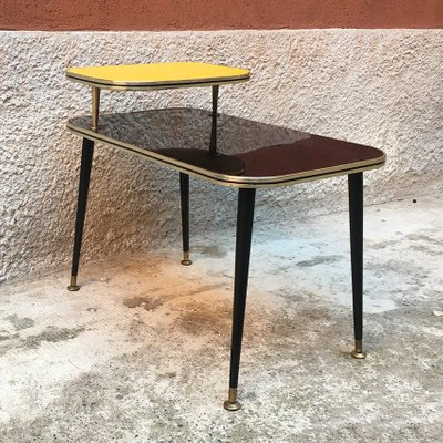 Italian Black And Yellow Formica Wood And Brass Coffee Table