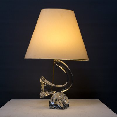 French Crystal Table Lamp From Daum, Comet Retro Metal Table Lamp