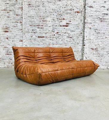 Cognac Leather Sofa By Michel Ducaroy
