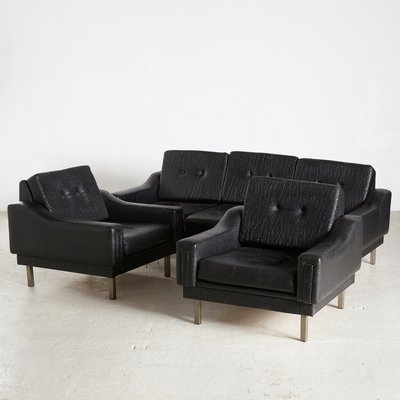 Black Leather Sofa And Armchairs Set