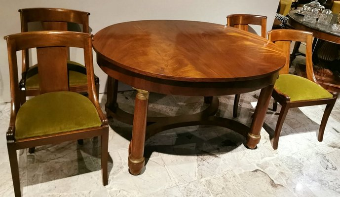 Antique French Empire Mahogany Dining Table Chairs Set For Sale At Pamono