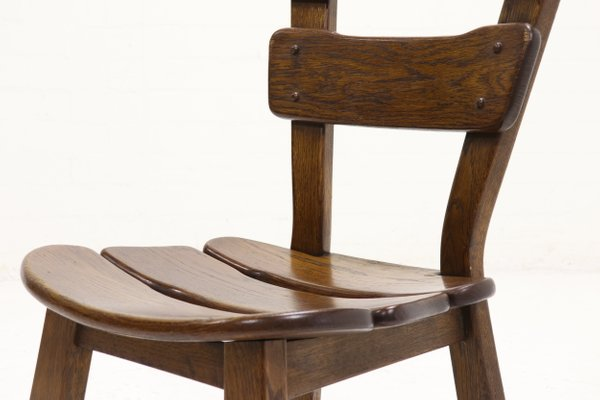 Spanish Brutalist Oak Dining Chairs 1950s Set Of 6 For Sale At Pamono