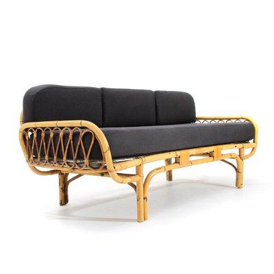 Mid Century Italian Rattan Sofa Bed