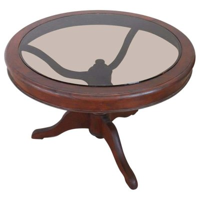 Antique Mahogany And Gl Round Coffee