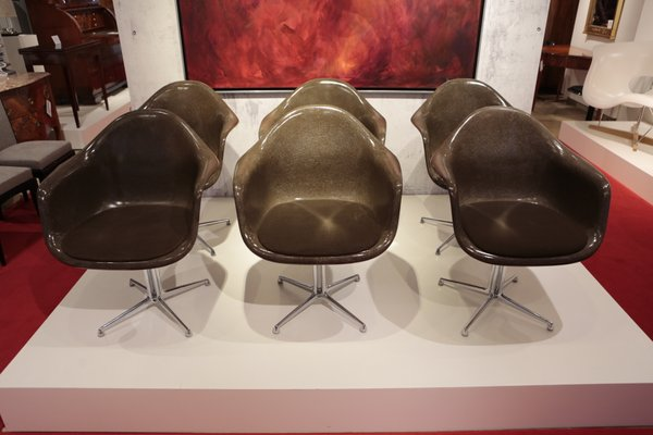 Sillas de comedor de fibra de vidrio de Charles & Ray Eames para Vitra, años 70. Juego de 6