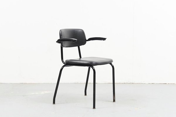 Mid Century Black Leatherette Dining Chair From Ahrend De Cirkel For Sale At Pamono