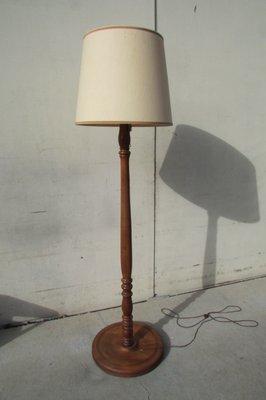Vintage Oak And Walnut Floor Lamp