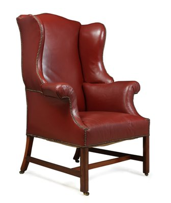 Antique Wingback Red Leather And Mahogany Armchair For Sale At Pamono