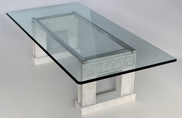 Rectangular Crystal Glass Top And Carved Stone Base Coffee Table With A Steel Frame From Cupioli For Sale At Pamono