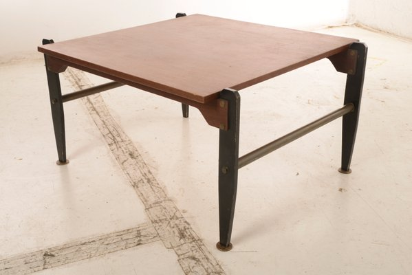 Vintage Italian Wood And Metal Coffee Table 1960s For Sale At Pamono