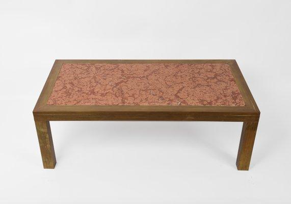 Table Basse Mid Century En Laiton Et Marbre Rouge Italie Annees